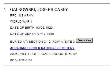 Galkowski, Joseph Casey Grave locator