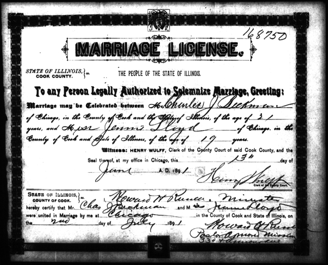 BECKMAN - LLOYD - Marriage Certificate