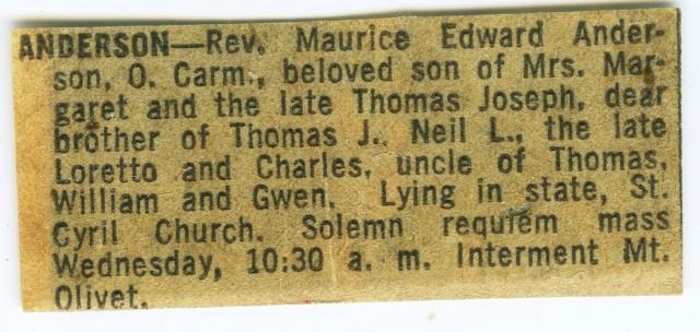 Anderson, Fr Edward Obituary