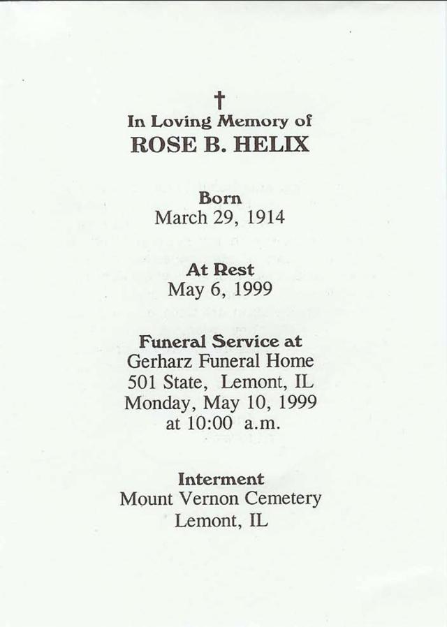 Rose Bromberek Helix_Funeral Card