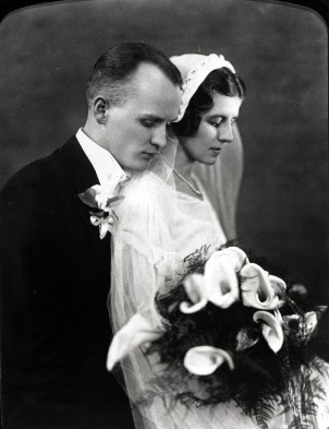 Charles Zaber and Lottie (Wagner) Zaber, Wedding Day - 1