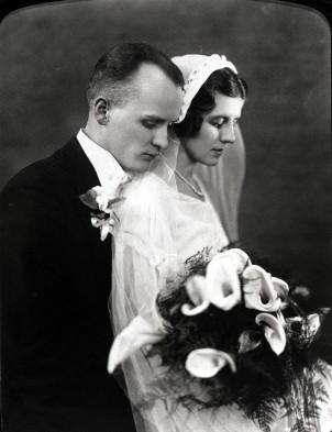 Charles Zaber and Lottie (Wagner) Zaber, Wedding Day - 1