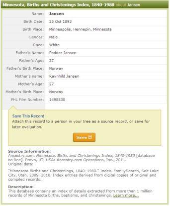 Jansen Birth Certificate