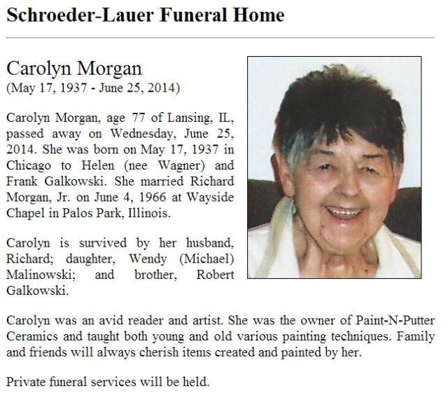 Morgan, Carolyn Obit Schroeder Lauer